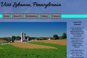 Lebanon, Pennsylvania - mock Tourism Site.