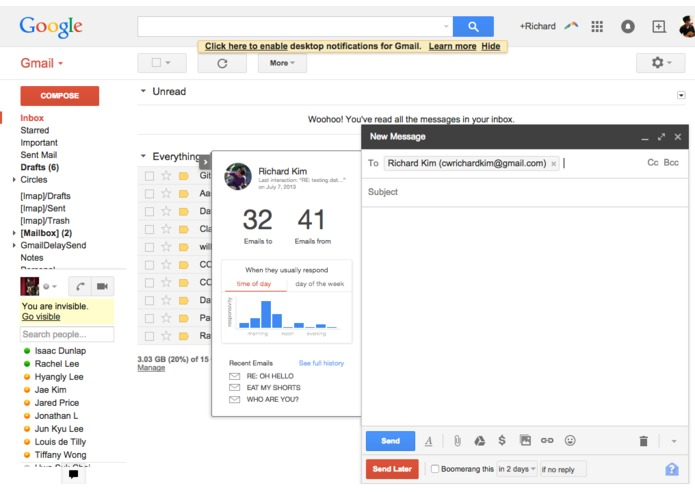 Gmail Helper (Chrome Extension) – screenshot 1