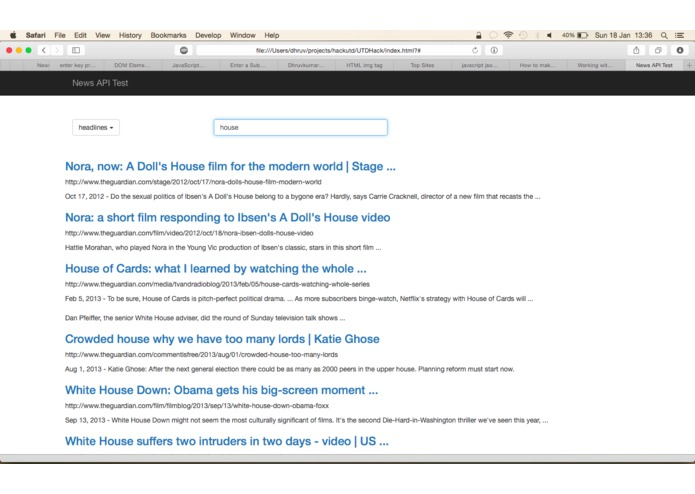 News Search RESTful API – screenshot 3