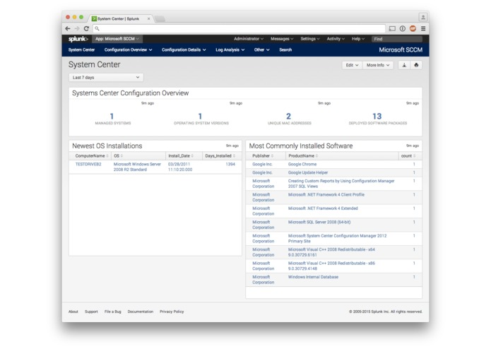 Splunk App for Microsoft System Center Configuration Manager