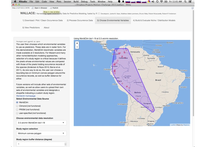Wallace (beta v0.1): Harnessing Digital Biodiversity Data for Predictive Modeling, Fueled by R – screenshot 3
