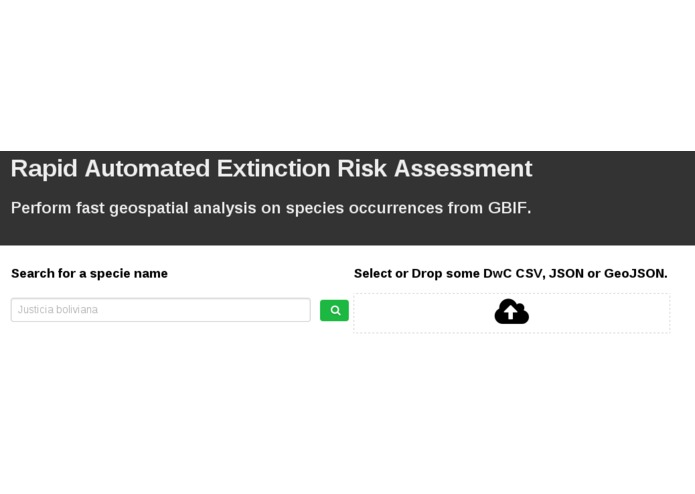 Rapid Automated Extinction Risk Assessment – screenshot 1