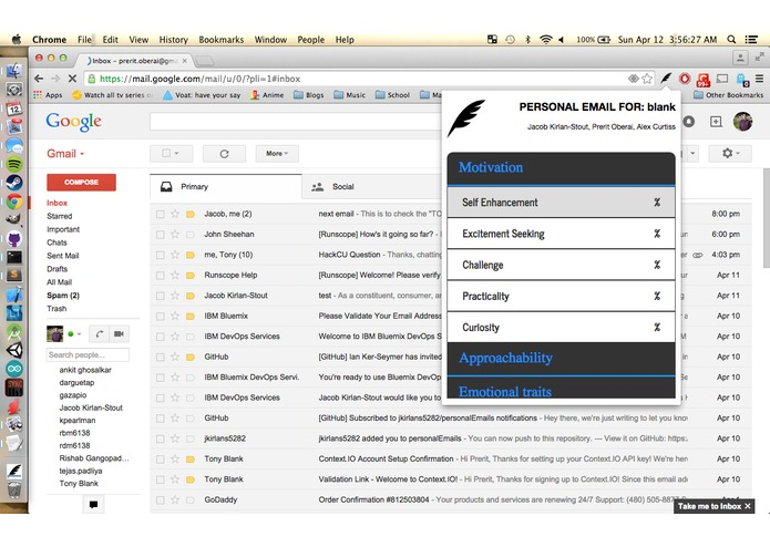 personalEmails – screenshot 2