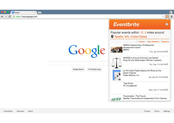 Eventbrite chrome extension – screenshot 1