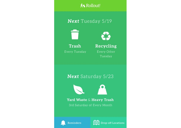 Rollout! Instant Trash Schedule Recycling Reminder App – screenshot 1