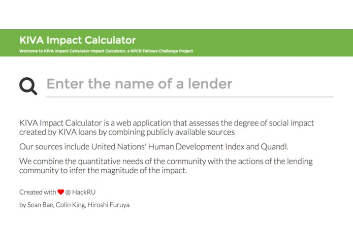Kiva Loan Impact Calculator – screenshot 1