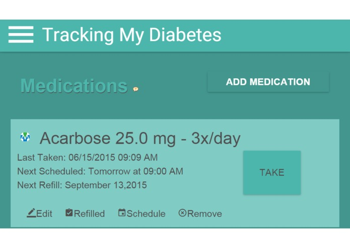 Tracking My Diabetes – screenshot 1