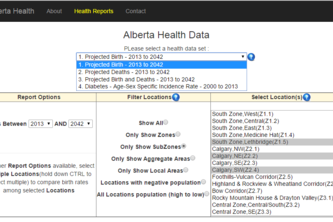 5 Alberta Health reports with 4 health-related data sets, Charts, exportable