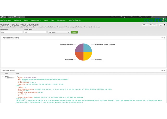 openFDA for Splunk – screenshot 2