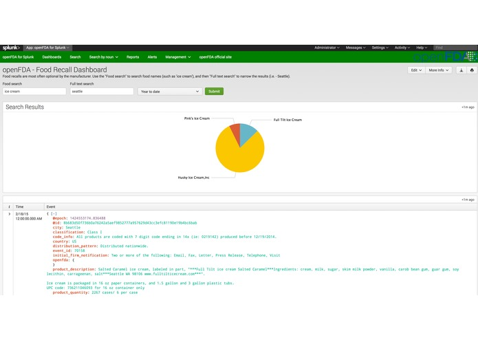openFDA for Splunk – screenshot 3
