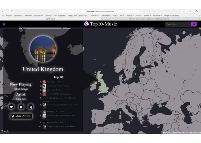 Top 10 popular music worldwide map  – screenshot 4