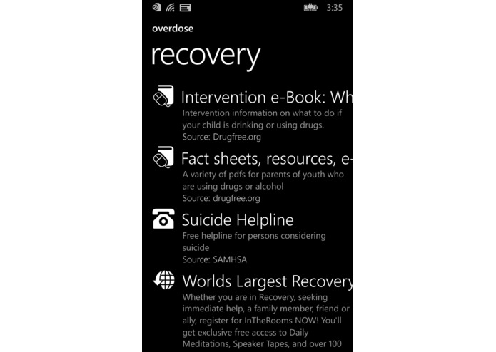 Overdose Search – screenshot 1