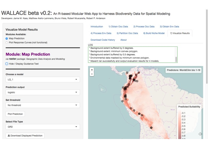 Wallace: A Web App to Harness Biodiversity Data – screenshot 2