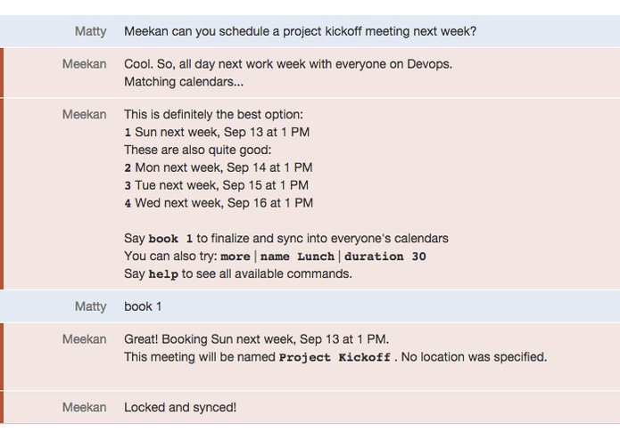 Meekan scheduling assistant robot – screenshot 1