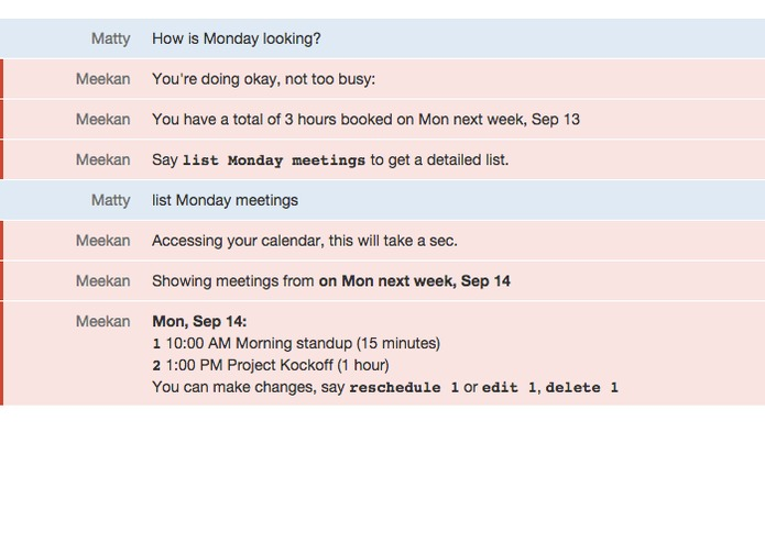 Meekan scheduling assistant robot – screenshot 2