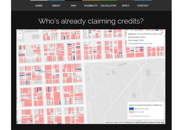 Baltimore Tax Credit Map – screenshot 1