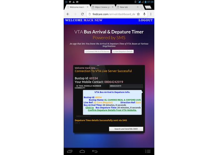 VTA Bus Arrival and Depature Timer Powered by SMS – screenshot 1