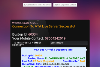 VTA Bus Arrival and Depature Timer Powered by SMS