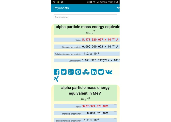 Physical Constants Mobile Reference App – screenshot 5