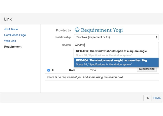 Requirement Yogi connector for JIRA – screenshot 2