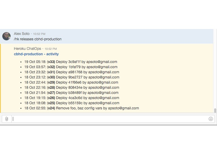 ChatOps for Heroku – screenshot 2