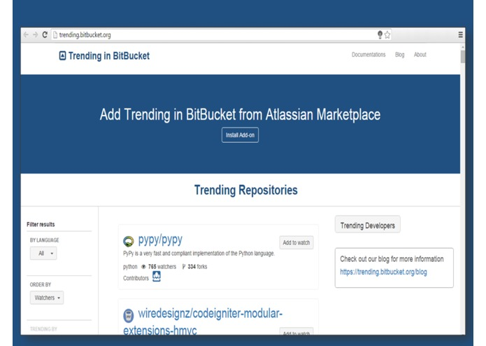 Trending in BitBucket – screenshot 2