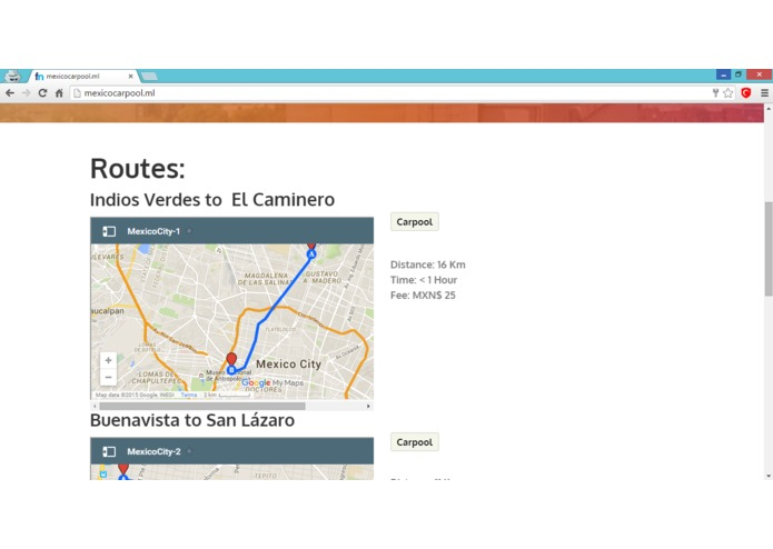 MexicoCarpool – screenshot 2