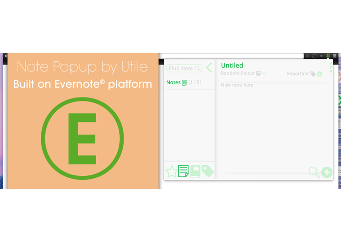 Note Popup by Utile Extension on Evernote Platform – screenshot 1