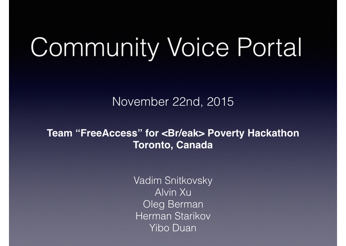 Community Voice Portal – screenshot 1