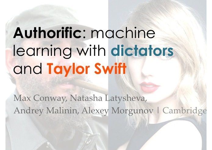 Authorify: machine learning with dictators and T.Swift – screenshot 1