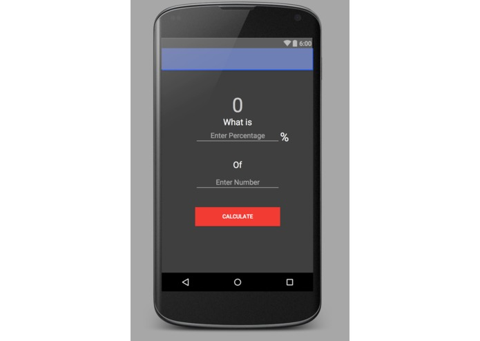 First Android App To Calculate Percentage of a number – screenshot 1