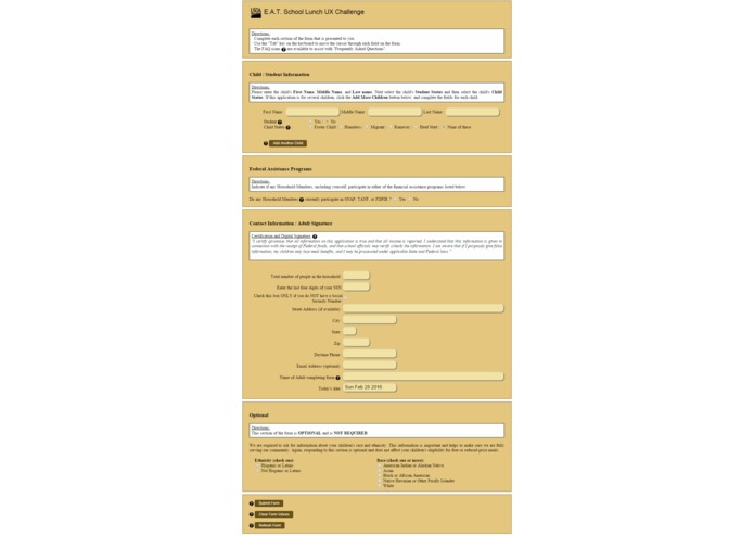USDA Lunch UX Form – screenshot 2