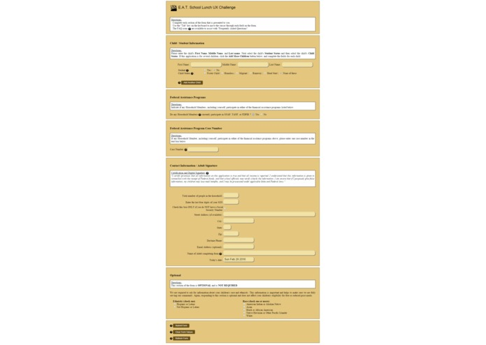 USDA Lunch UX Form – screenshot 3