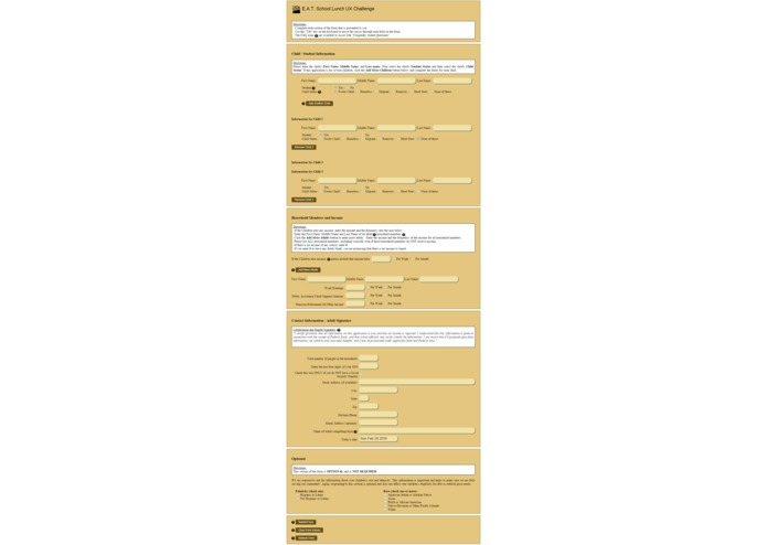 USDA Lunch UX Form – screenshot 6