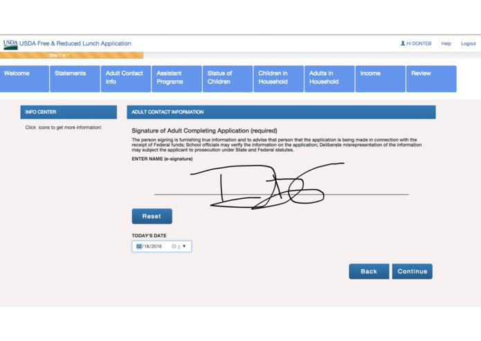 USDA Free and Reduced Lunch Application – screenshot 5