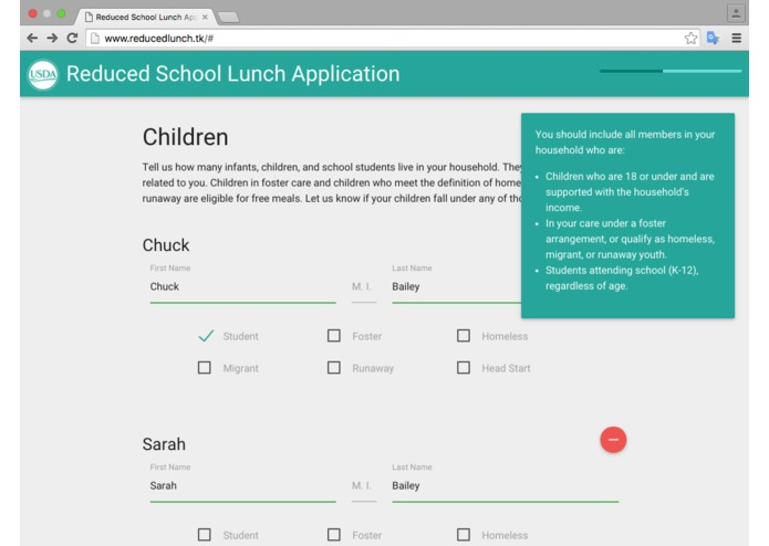 Reduced Lunch Form – screenshot 5