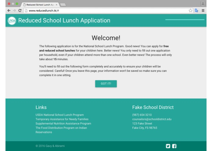 Reduced Lunch Form – screenshot 1