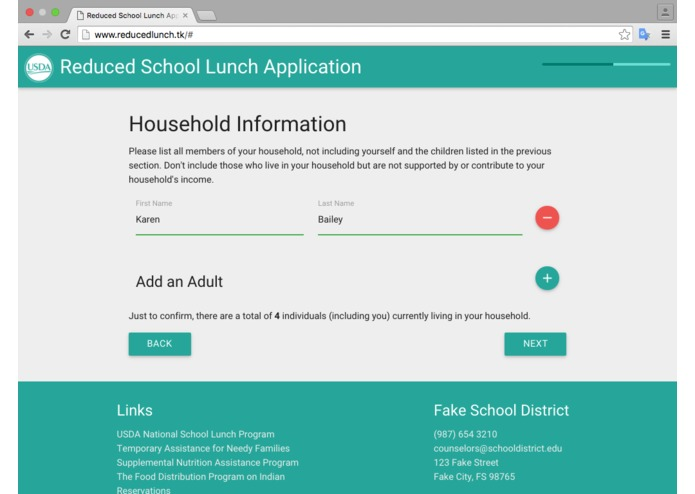 Reduced Lunch Form – screenshot 6