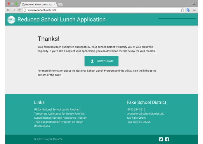 Reduced Lunch Form – screenshot 14