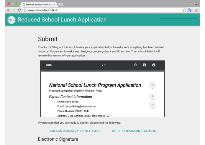 Reduced Lunch Form – screenshot 11