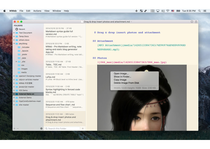 MWeb – screenshot 2