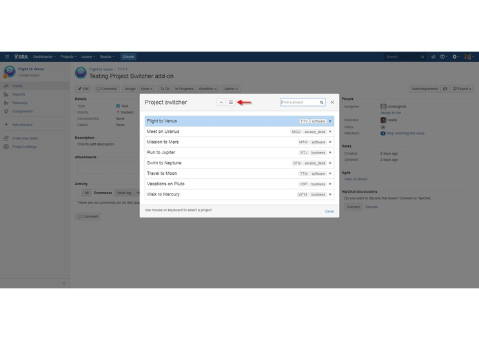 Project Switcher for JIRA – screenshot 4
