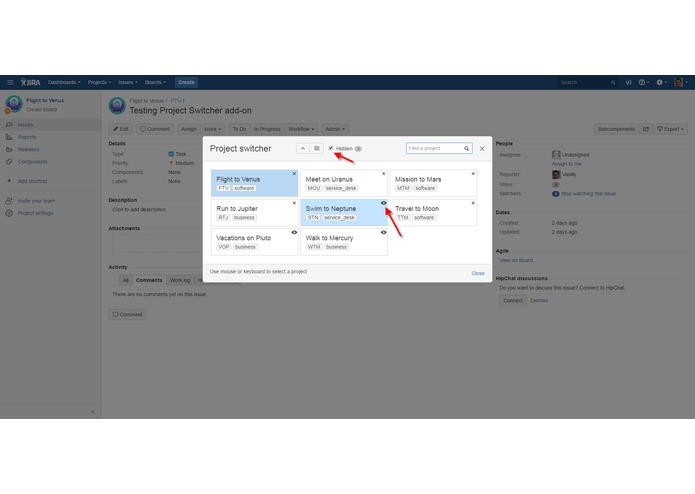 Project Switcher for JIRA – screenshot 3