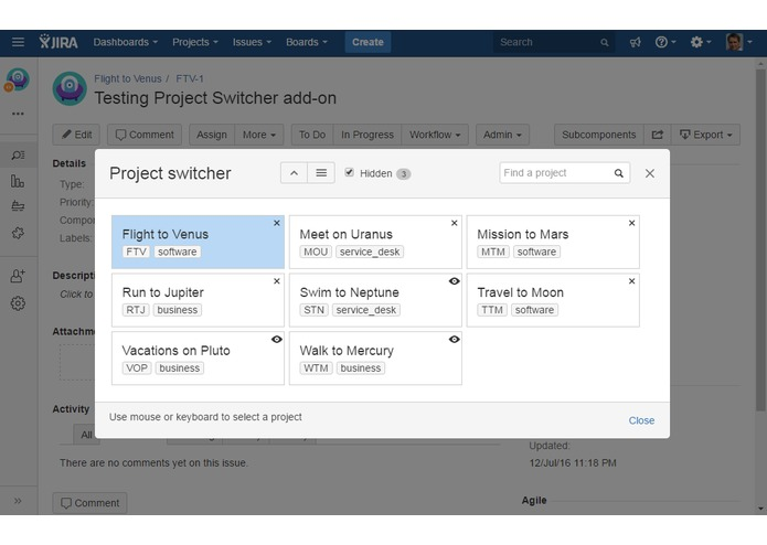Project Switcher for JIRA – screenshot 1
