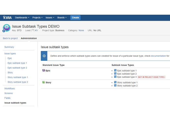 Issue Subtask Types for JIRA – screenshot 2