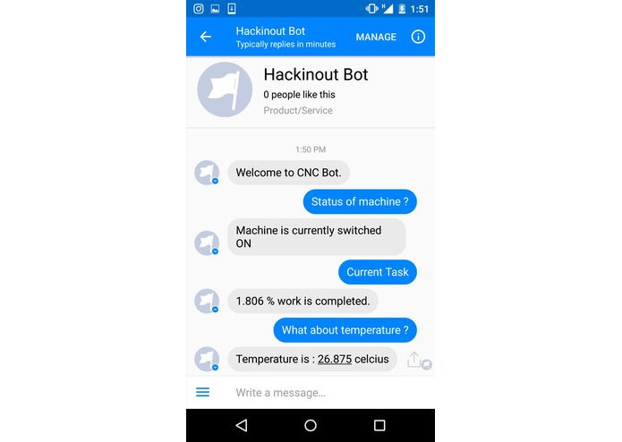 IoT based Facebook Chatbot controlled CNC Machine – screenshot 4