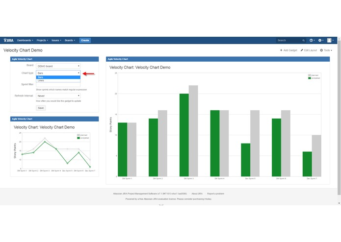 Velocity Chart Gadget for JIRA – screenshot 1