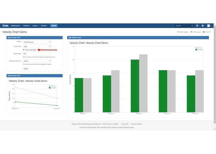 Velocity Chart Gadget for JIRA – screenshot 2