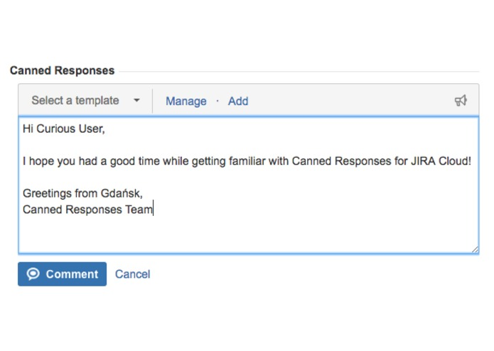 Canned Responses for JIRA Cloud – screenshot 1