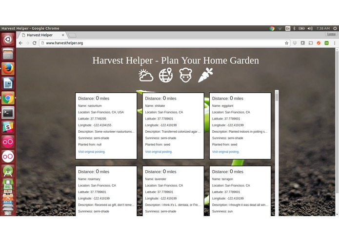 HarvestHelper.org – screenshot 2